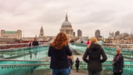 Time lapse of people crossing Millennium Footbridge