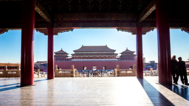 Time lapse of people in Forbidden City, Beijing, China.