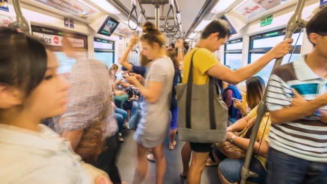 Time Lapse of People travelling by subway train
