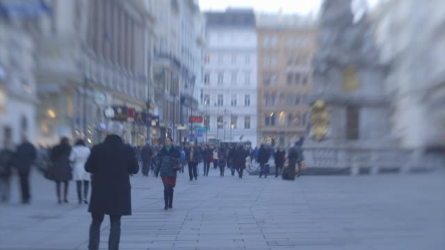 Time lapse of people walking along a street in central Vienna.