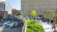 Time Lapse of people walking in High Line Park