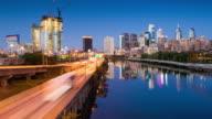 Time Lapse of Philadelphia Skyline at dusk