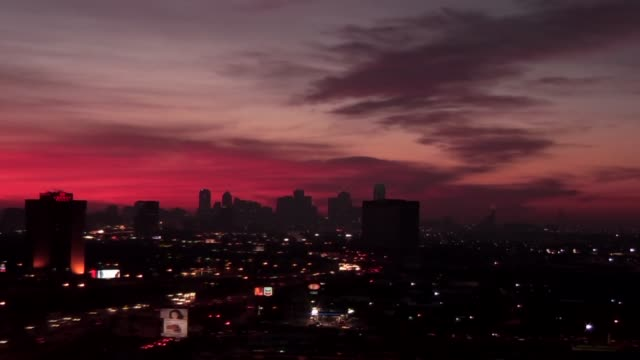 Time Lapse Of Pink Sunrise Over Downtown Dallas