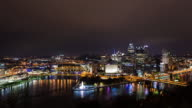 PITTSBURGH - CIRCA 2014: Time Lapse of Pittsburgh Skyline during the night