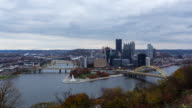 PITTSBURGH - CIRCA 2014: Time Lapse of Pittsburgh Skyline in a cloudy day