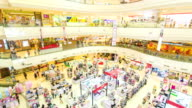 Time lapse of poeple in shopping mall,High angle view