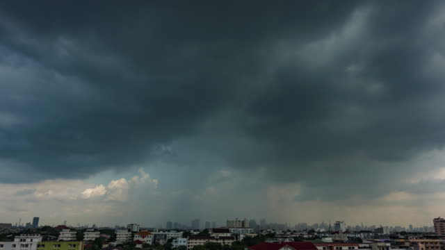 Time lapse of rain clouds of the day over Bangkok sky