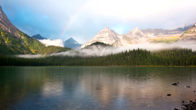 Time lapse of rainbow over mountain lake