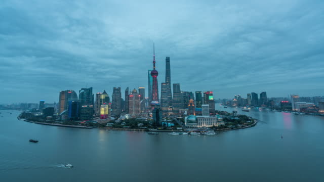Time lapse of Shanghai day to night transition