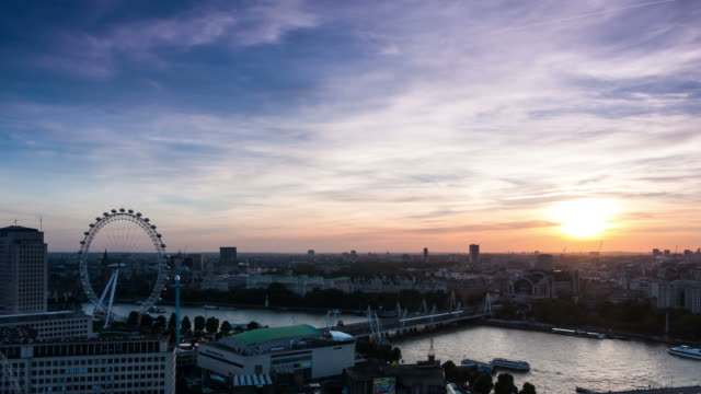 LONDON - CIRCA 2012: Time lapse of Skyline during sunset with amazing London view