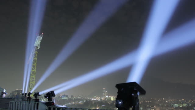 Time Lapse of Spotlights from Costanera Center Santiago Chile