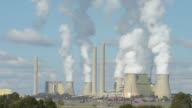 WS Time Lapse of steam billowing from the cooling towers of the Loy Yang coal fired power station operated by AGL Energy Ltd in the Latrobe Valley...