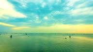 Time lapse of Sunrise: fisherman village in Bangtaboon Petchaburi, Thailand