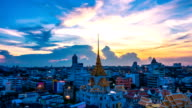 Time lapse of Sunset at Bangkok city of temple