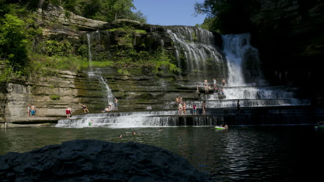 A time lapse of swimmers at one of the top American swimming holes at Cummings Falls State Park in Tennessee.