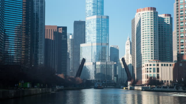 Time lapse of the Chicago River as a lift bridge operates.