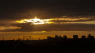 4K Time lapse of the cityscape of Manchester under a fantastic sunset