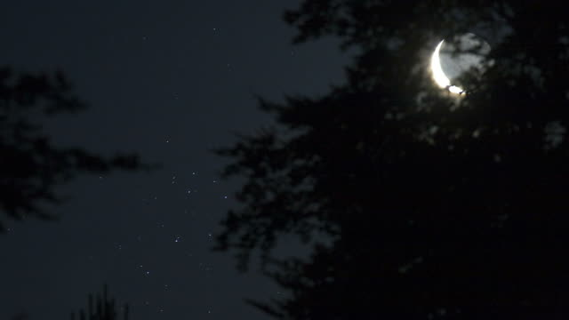 Time lapse of the crescent moon with its earthshine close to the Pleiades stars cluster