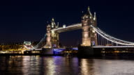 LONDON - CIRCA 2014: Time Lapse of the moonrise behind the Tower Bridge in London