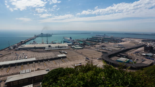 DOVER - CIRCA 2012: Time lapse of the port of Dover with boat and ferrys coming and going