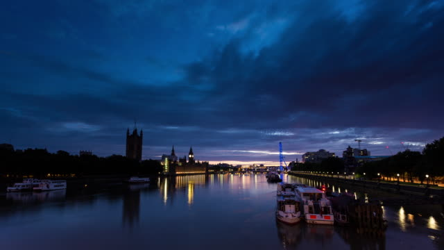 LONDON - CIRCA 2014: Time Lapse of the Sunrise from Lambeth bridge of Westminster