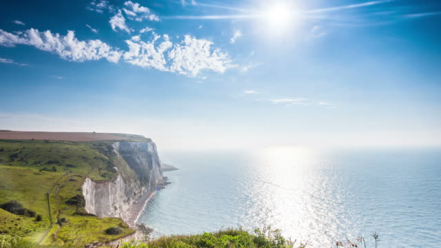 DOVER - CIRCA 2012: Time lapse of the White Cliffs of Dover during a sunny day