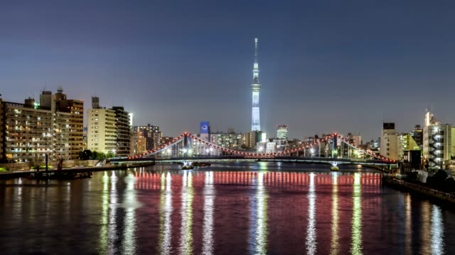 4K time lapse of Tokyo city skyline with cityscape of Tokyo skytree, Kiyosu bridge, Sumida river waterfront landscape at night, Chuo ward, Tokyo, Japan.