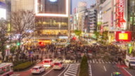 Time lapse of Top view of Shibuya Crossing
