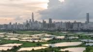4 K Zeitraffer Draufsicht die Shenzhen Stadtbild von Hong Kong zu sehen