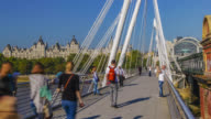 Time lapse of tourists activity on Hungerford Footbridge in London.