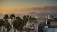 Time Lapse of Venice Beach Boardwalk at Dusk
