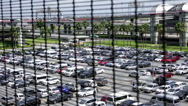 Time lapse of View of Parking lot at airport.