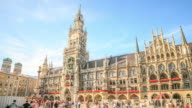 4K Time Lapse : Pedestrian crowded at Central Square Marienplatz