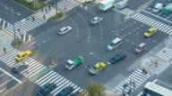 4K Time Lapse :  People Crowd Shopping Street Aerial View Pedestrians Crossing in Tokyo Japan