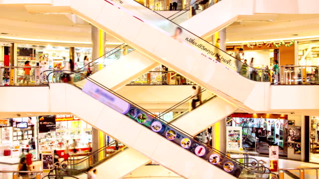 HD time lapse, People with escalator in shopping mall