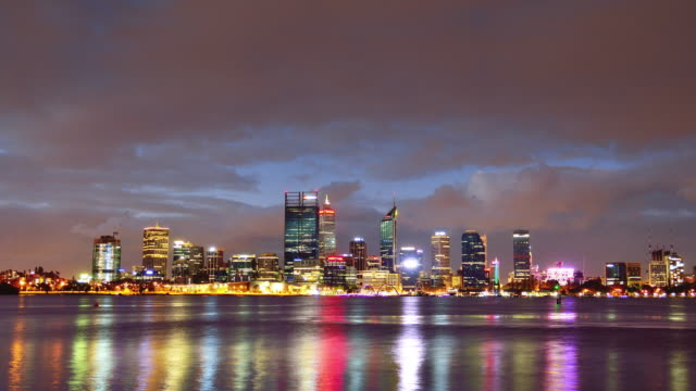 4K Time lapse: Perth Skyline From Day to Night, Australia