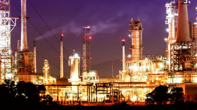 HD time lapse, petrochemical oil refinery plant