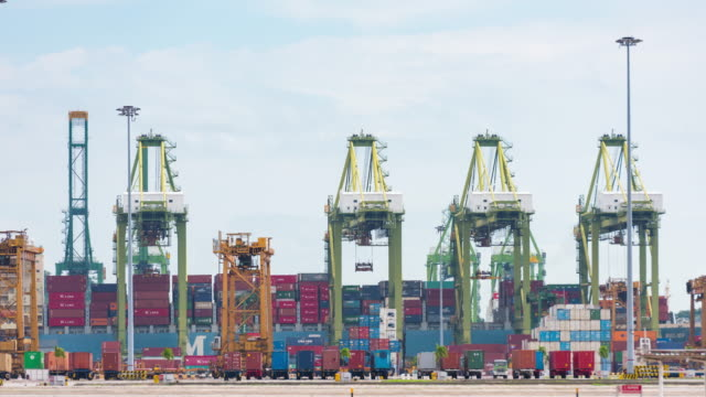 4K Time Lapse : Port Loading of Operation in railroad yard