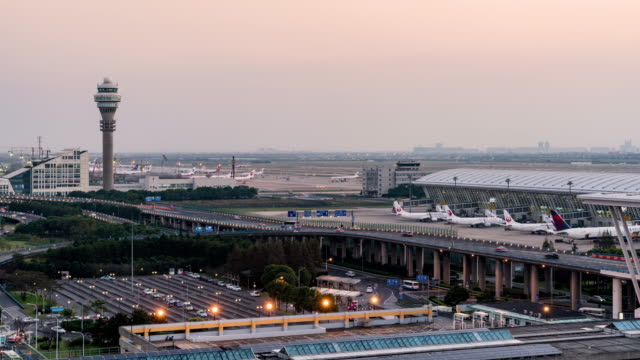 Time Lapse Pudong international airport/shanghai,china