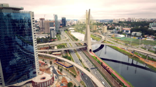 Time Lapse. Sao Paulo. busy traffic over bridge