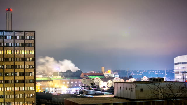 HD Time Lapse: Satellite Dishes and Smoke