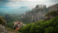 Time Lapse scenics of clouds moving over Meteora/ Greece.