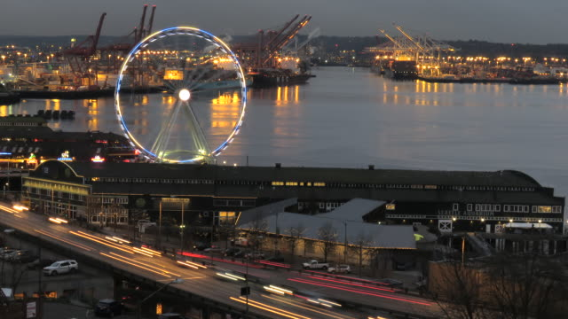 Time lapse Seattle ferry dock at Pikes public market night