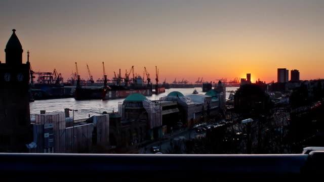 Time lapse sequence of Hamburg City Sunset