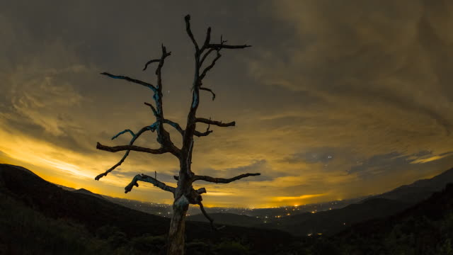 Time lapse sequence showing clouds and stars moving over the Shenandoah National Park.