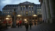 Time lapse sequence shows commuters pedestrians and traffic passing the Bank of England headquarters at dusk in the City of London UK on Tuesday Feb...