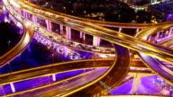 Zeitraffer-Shanghai Highway bei Nacht (Schwenken)
