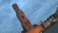 Time Lapse Shot Belfry Tower Bruges West Flanders Belgium