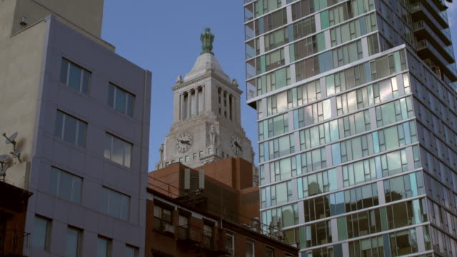 Time Lapse Shot of a clock tower's clock advancing in time in Manhattan, New York City