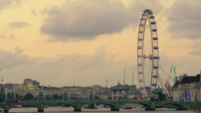 Time lapse shot of a sunset over the River Thames in central London.